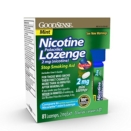 GoodSense Mini Nicotine Polacrilex Lozenge 2mg, Mint, 81-Count, Stop Smoking Aid, GoodSense Smoking Cessation Products