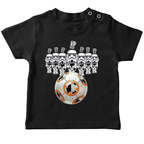 T-Shirt bébé Noir Star Wars parodique BB-8 Vs Les Stormtroopers : BB Bowling. (Parodie Star Wars)