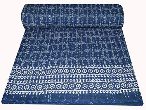 Muditcrafts - Manta de algodón de Kantha, hecha a mano, tamaño reina, para cama doble, Gudari, vintage, 2228 x 258 cm