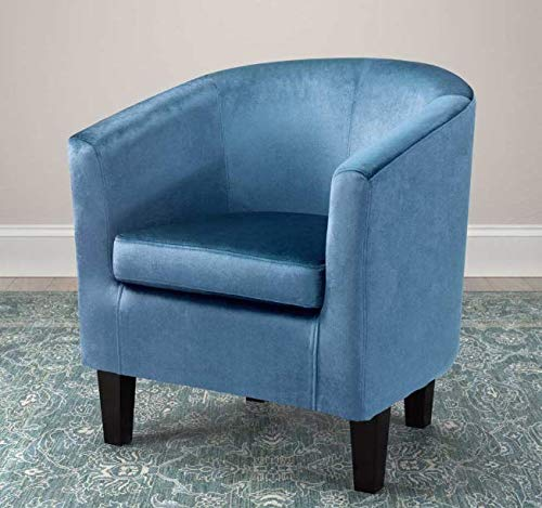 Media Room Chairs- Slipper Chair- Blue Contemporary Upholstered Tub Chair- Lovely Color and A Soft, Cozy Seat