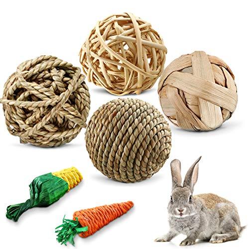 juguetes para masticar conejos, natural bola de hierba, Bola para conejos, Suministros para Mascotas, Mascotas Bolas de Limpieza de Dientes, Masticación Mascota Juguete, Natural De La Hierba Bola (A)