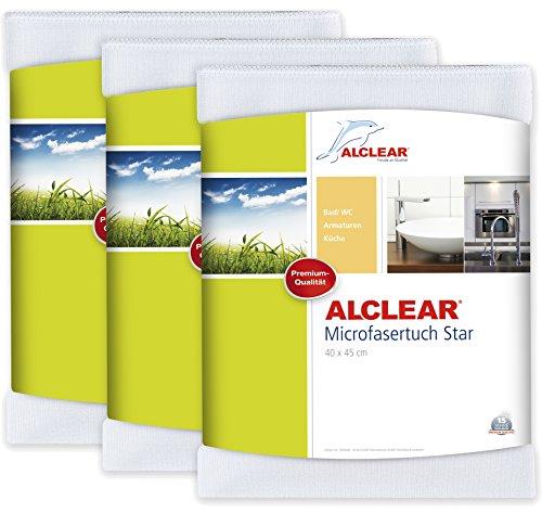 ALCLEAR 950006_3 3-er Set Microfasertuch Star Spezialtuch für Bad und Küche, entfernt Kalkränder, 40 x 45 cm, weiß