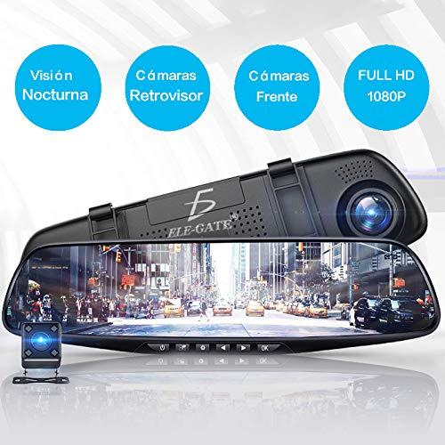 ele-gate Camara DVR Mirror Dash ktis Recorder,Dos Cámara de visión Trasera Auto Coche
