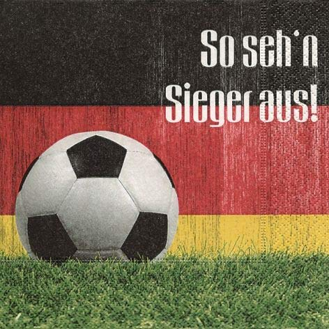 20 Serviettes en papier - 3 plis - 33 x 33 cm Fêtes Thème Football (So seh´n Sieger aus)
