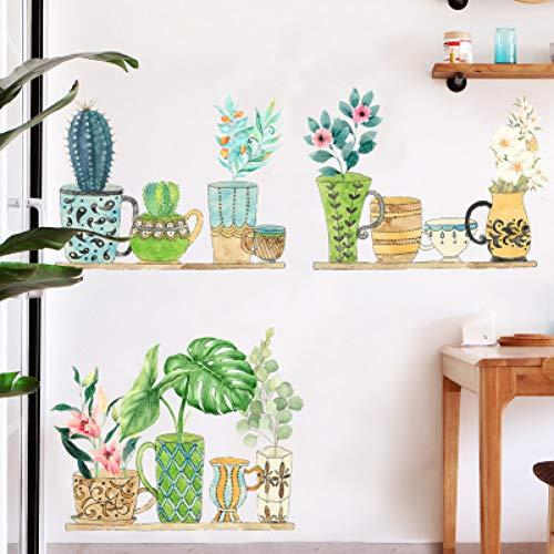 Grüne Topfwand Aufkleber Vermietung Haus Reform Schlafzimmer Wand Raumdekoration Poster Pflanze TV Hintergrund Wallpaper Home Decor