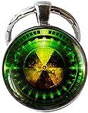 Llavero con símbolo de peligro de radiación, química radiactiva, joyería de ciencia ficción