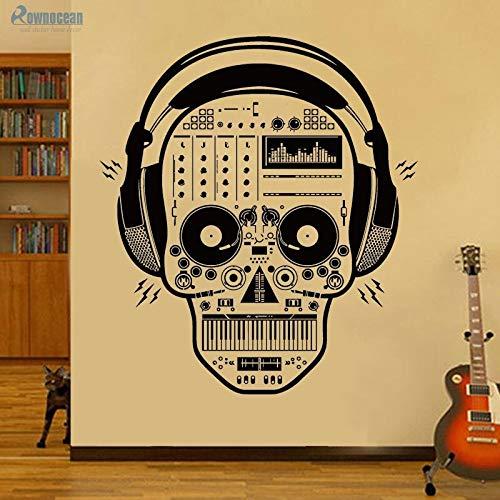 Kundenspezifische farbige Kopfhörer Musikschädel kreative Aufkleber für Wanddekoration Kinder Wandaufkleber Vinyl Raumdekoration K.