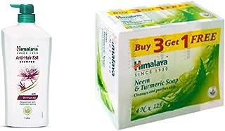 Himalaya Anti Hair Fall Shampoo with Bringaraja, 1000 ml & Himalaya Neem and Turmeric Soap, 125g (Buy 3 Get 1 Free)