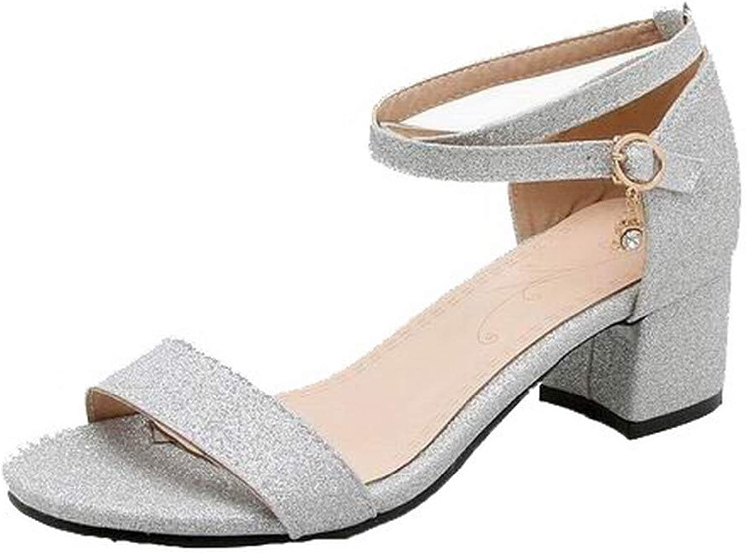 WeenFashion Women's Buckle Open-Toe Low-Heels Imitated Suede Sandals,AMGLX010639