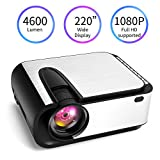Video Projector, [2020 Upgraded] 4600 Lumen Mini Projector, 1080P Supported, Full HD 220' Display, Compatible with Phone/VGA/TV/PS4/DVD Ideal for Home Theater