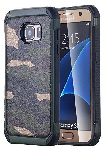 FDTCYDS S7 Hülle,Samsung Galaxy S7 Camo Schutz Hülle Defender Shockproof Drop Proof High Impact Rüstung Plastic & Leder TPU Hybrid Rugged Camouflage Cover Hülle für Samsung Galaxy S7 - Grün