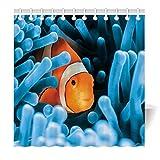 YISUMEI Duschvorhang 180x200 Blaue Koralle Nemo Motiv Antischimmel Waschbar Textil