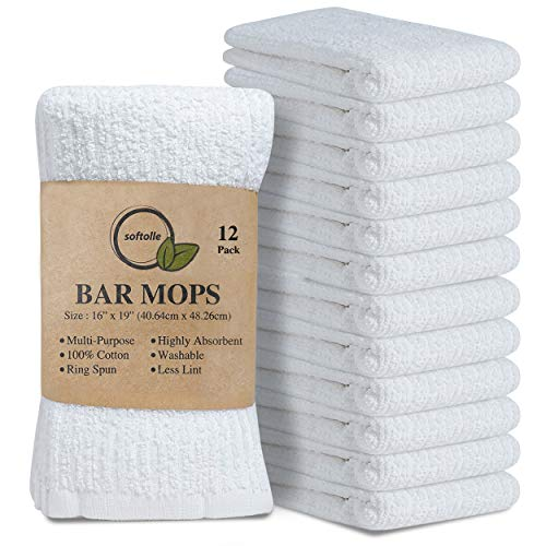 Softolle Kitchen Towels, Pack of 12 Bar Mop Towels -16x19 Inches -100% Cotton White Towels - Super Absorbent Bar Towels, Multi-Purpose for Home, Kitchen and Bar Cleaning (White)