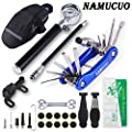 NAMUCUO Bike Tyre Repair Tool Kit - Bicycle Tool kit with 210 Psi Mini Pump 10-in-1 Multi-Tool?with Chain Breaker?, Tyre Levers &Tire Patch, Bone Wrench, 1 Saddle Bag. 6 Month Warranty