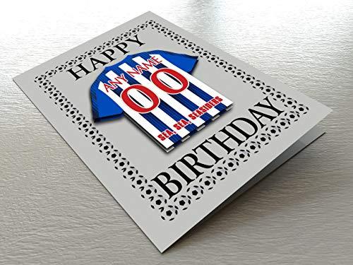 MyShirt123 Geburtstagskarten mit Fußballmotiv – jeder Name, Jede Nummer und jedes Team – kostenlose Personalisierung, Brighton & Hove Albion FC Geburtstagskarte