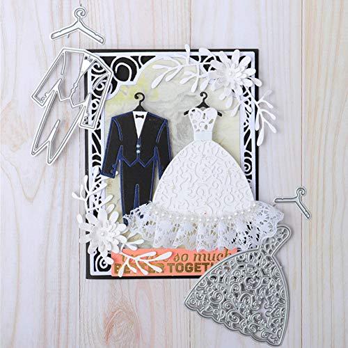Zhouba Stanzschablonen für Kartenherstellung, Hochzeitskleid, Anzug, Basteln, Scrapbooking, Prägung, Papierkarten, Schablone – Silber