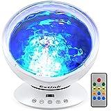 Lámpara de Proyector LED Luz Océano Mando a Distancia Reproductor de Música para Dormitorio de Niños, Fiestas, Regalos y Decoración del HogarUpgrated Blanco)