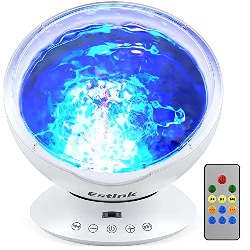 Ozeanwelle Projektor Nachtlicht 7 Modi Fernbedienung Kinder LED Ozean Projektor Lampe Redner Eingebaut Musikspieler Ozeanwellen Beleuchtung mit Polarlicht für Schlafzimmer Wohnzimmer Party Weihnachten