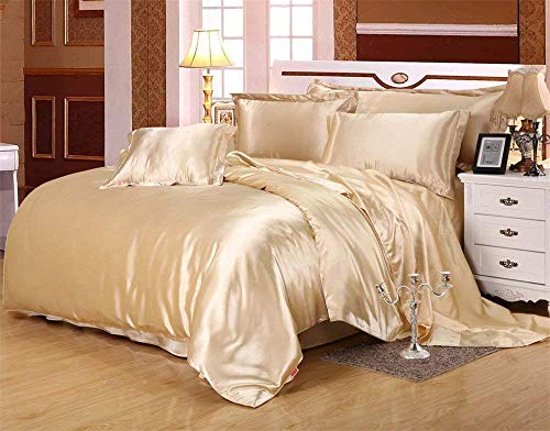 Impression Bedding 100% Pure Silky Satin Sheet Set 5Pc, California King Size Solid Dark Ivory Silk Fitted Sheet 15