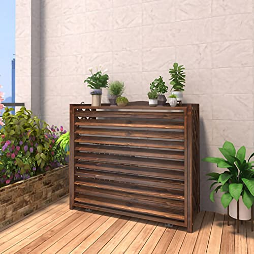 PTY Air Conditioner Fence Screen Solid Wood Air Conditioner Flower Rack Air Conditioning Cover Flower Rack Outdoor Plant Storage Rack Wood Display Rack Air Conditioning Shell Blinds