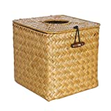 circulor Tapa De La Caja De Pañuelos, Square Seagrass Facial Tissue Box Dispensador De Servilletas Decorativo De Papel Tejido