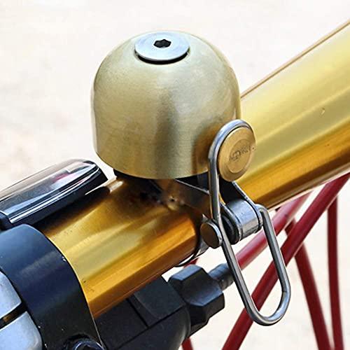 Campana de bicicleta retro clásica de cobre dorado, timbre para bicicleta portátil...