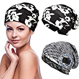 Geyoga 2 Pieces Hair Cover Bonnet Satin Lined Sleep Cap Adjustable (Black with White)
