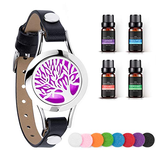 Aromatherapy Essential Oil Diffuser Bracelet, Unique Gifts for Women, Girls and Mother's Day Small Gifts for Women w/ Lavender, Peppermint, Eucalyptus, Bergamot Natural Essential Oils(10ml/pcs)