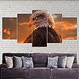 VYQDTNR Imagenes Enmarcadas Arte de Lienzo Enmarcado de 5 Piezas Eagle Eye Animal Americano Pinturas sobre Lienzo Arte de Pared para Decoraciones de Hogar Decoración de Pared Obra de Arte