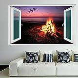Pegatinas De Pared Camping Campfire Flame Lake Sunset Mural Calcomanías Desmontable Vinilo Decorativo Salon Dormitorio Decoración 50X70 Cm