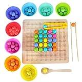 Montessori Spielzeug, GUBOOM Holz Clip Beads Brettspiel, Wooden Clip Beads Rainbow Toy, interaktives Spielzeug, Lustige Brettspiele, Rainbow Bead Game Early Education Puzzle Brettspiel