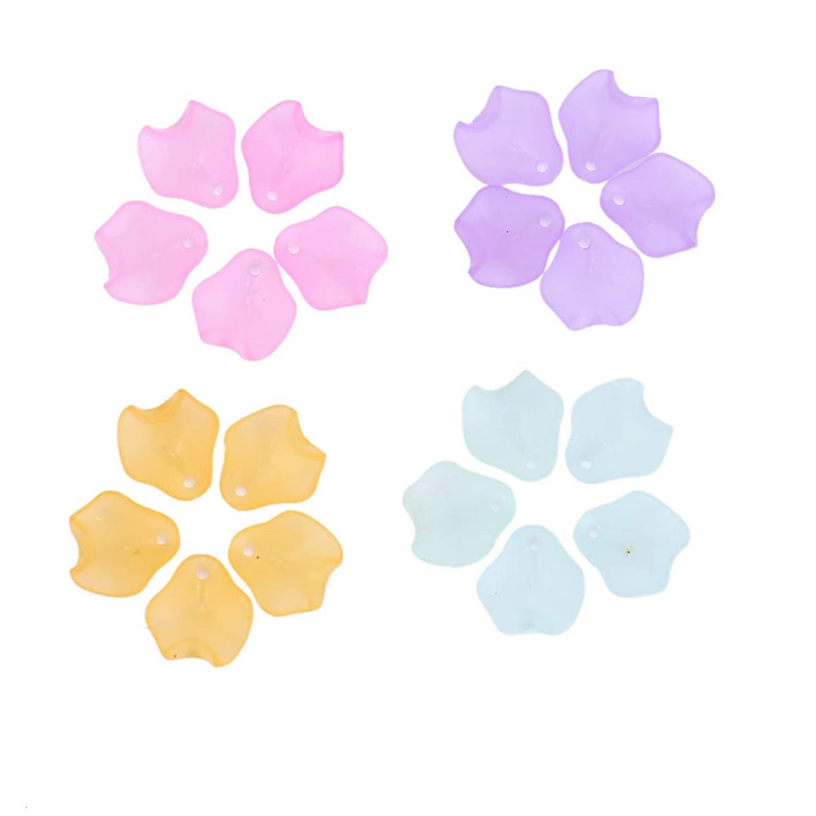 Monrocco 200 PCS 15MM Multicolor Acrylic Petals Plastic Leaf with Hole for Jewelry Making DIY Craft