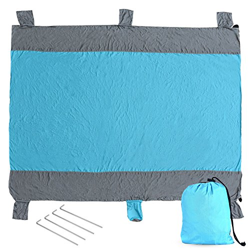 Beach Blanket Sand Proof, Picnic Blanket Waterproof, Lightweight Quickdry Outdoor Blanket Strong Parachute Nylon Large Beach Blankets Mat 7' x 9' with 6 Weightable Pockets + 4 Steel Stakes
