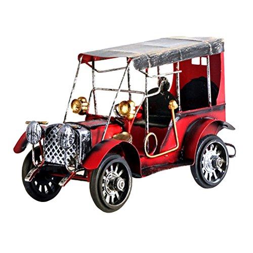 CLISPEED Modellini Auto Vintage Auto d'Epoca in Ferro Decorazione per Tavolo Rosso