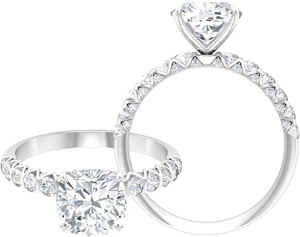 Rosec Jewels Cushion Cut Engagement Ring, Solitaire Ring with 2.6 CT D-VSSI Moissanite, Side Stone Ring (AAA Quality),14K White Gold,Moissanite,Size:US 6.50