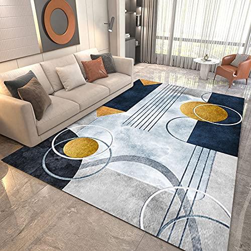 NTtie Alfombra De Salón Patchwork Diseño Coser Patrones geométricos es Simple y Adecuado para la Sala de Estar y el Dormitorio.