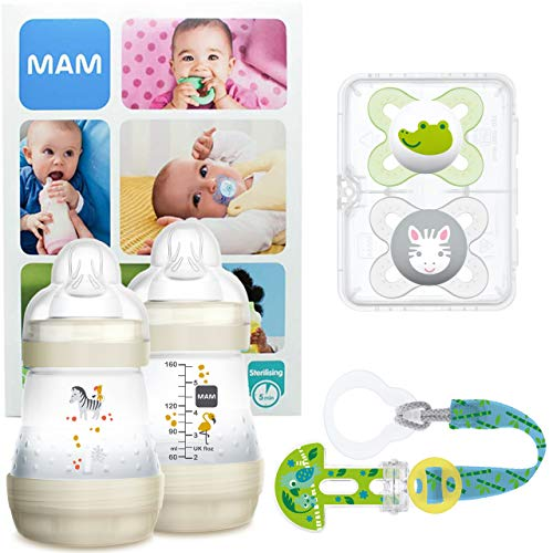 MAM Welcome Baby Starter Set, regalos para bebé, canastilla con 2 biberones anticólicos Easy Start (160 ml), 2 chupetes Start de silicona (0-2 meses) y chupetero, UNISEX