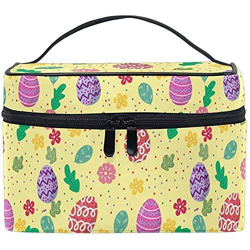Feliz Pascua Huevo Colorido Primavera Conejito Maquillaje Floral Tren Estuche Portátil Bolsa de Cepillo cosmético con Cremallera portátil Almacenamiento