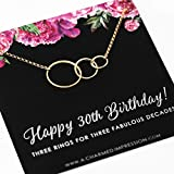 30th Birthday Gifts for Women • 14k Gold • 3 Circles Necklace • 30 Thirty Year Old Birthday Gifts for Women Necklace • 30th Birthday Necklace • Gift for Wife Daughter Niece Best Friend Sister Gifts