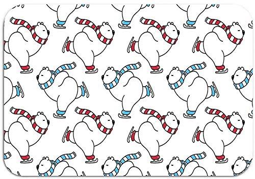 hdyefe Fußmatte für Außenschuhe, rutschfest, Bär, Eisbär, Weihnachten, Schlittschuh, Schnee, Winter, Panda, Teddyschal, Cartoon, isolierte Fliesenmatte, 40,6 x 61 cm