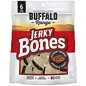 Buffalo Range Rawhide Dog Treats | Healthy, Grass-Fed Buffalo Jerky Raw Hide Chews | Hickory Smoked Flavor | Jerky Bone, 6 Count