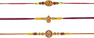Pack of 3 Rakhi for Raksha Bandhan Designer Rakhi Bracelet for Brother with Kalash & Om Fancy Rakhi Celebration of Raksha bandhan
