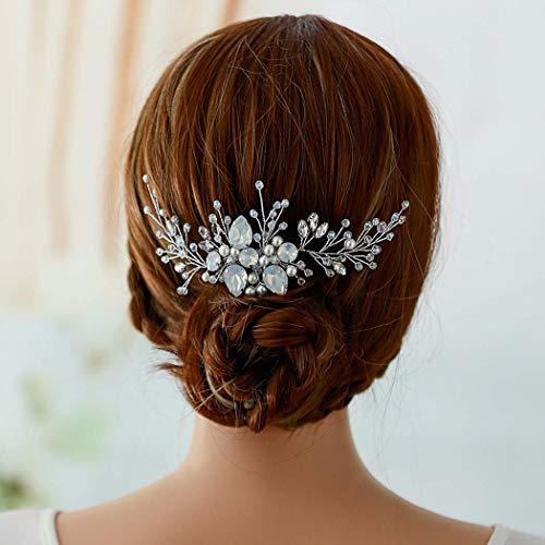 Peinetas de cristal para novia, peinetas de boda con diamantes de imitación plateados, preciosas flores para novia, accesorios para el pelo de boda para mujer