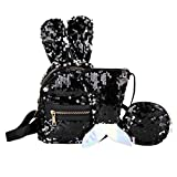 3Pcs Children's Sequins Bunny Ears Student Shoulder Bag School Bag Backpacks+Messenger Bag+Pen Bag Clutch