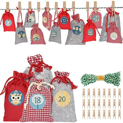 AIMTOP Calendario de Adviento, 24 Bolsa de Regalo Navidad Calendario Adviento Bricolaje, Bolsas Calendario de Yute con Adhesivos, Cuenta Atrás para Navidad Decoración de Casa de 24 días