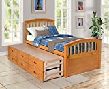 DERCASS Twin Size Solid Wood Bookcase Captains Bed Platform Storage Bed with Pull Out 6 Drawers,No Box Spring Needed (Natural)