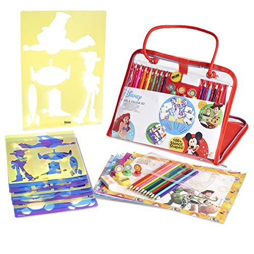 Disney Kit di Stencil E Disegno Giocattolo Educativo per Bambini | Valigetta Creativa 34 Pezzi | Kit Creativo per Disegnare E Colorare | Idee Regalo