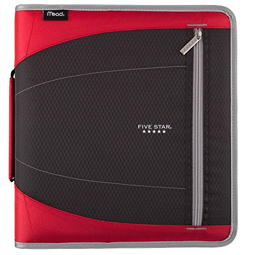 Five Star 2 Inch Zipper Binder, 3 Ring Binder, Removable File Folders, Durable, Red (73283)
