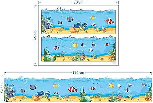 Ecloud Shop Underwater World Baseboard Wall Stickers Bathroom Waistline Ocean Under Sea Fishes Waves Baseboard Stripe Border Wall Decals Bathrooms Kitchen Kids Rooms Decals