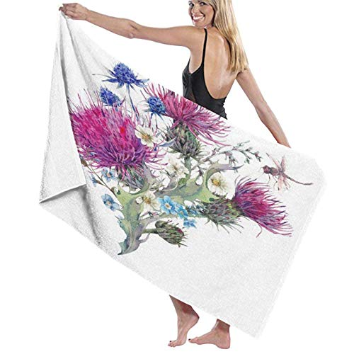 Spetlye Large Toalla de baño Blanket,Summer Natural Meadow Watercolor with Wild Flowers Thistles Dandelions Herbs,Bath Sheet Beach Towel for Family Hotel Travel Swimming Sports,52' x 32'